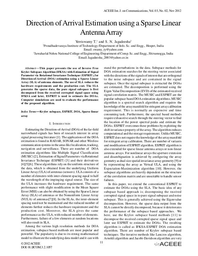 ACEEE Int. J. on Communications, Vol. 03, No. 02, Nov 2012   Direction of Arrival Estimation using a Sparse Linear        ...