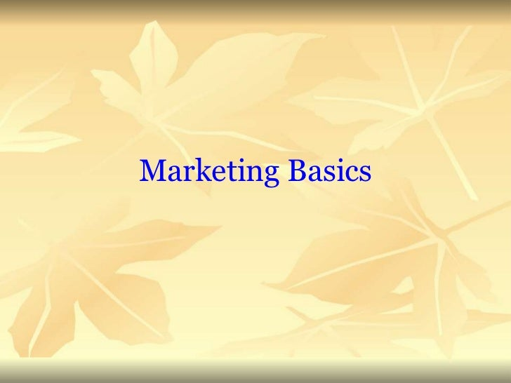 Marketing Management Basics