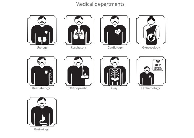 Pictograms for a hospital signage system.