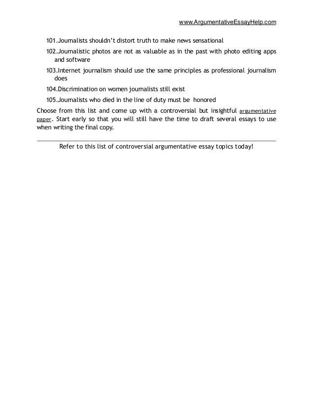 controversial argumentative essay topics  management journalism