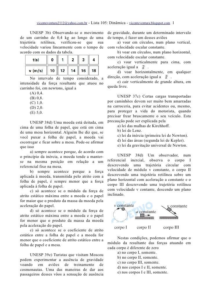 vicenteventura2112@yahoo.com.br   - Lista 105: Dinâmica - vicenteventura.blogspot.com 1         UNESP 3b) Observando-se o ...
