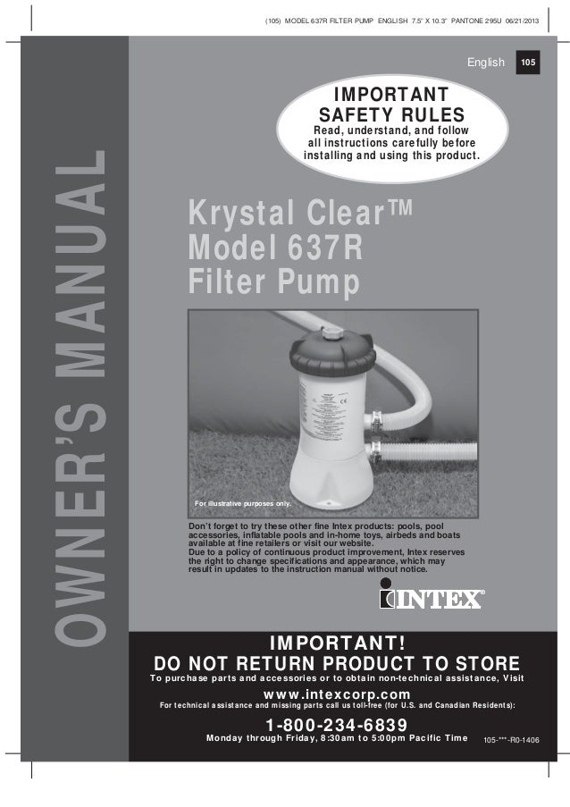 Krystal Clear Model 637r Filter Pump Manual For Intex And Bestway Swi
