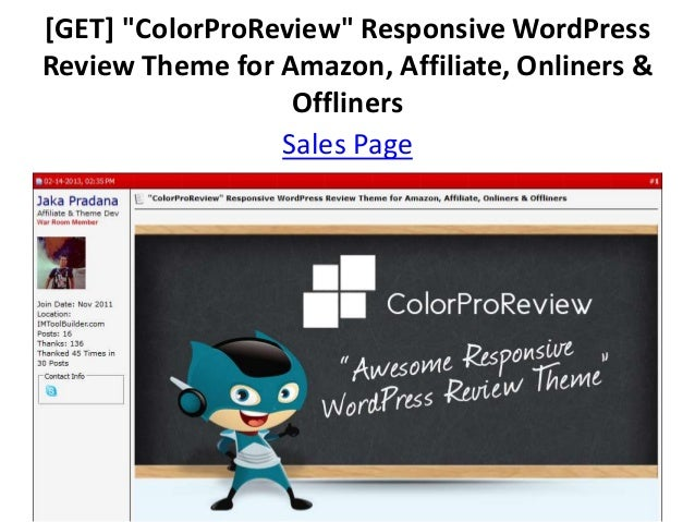 "[GET] ""ColorProReview"" Responsive WordPressReview Theme for Amazon, Affiliate, Onliners &                  Offliners      ..."