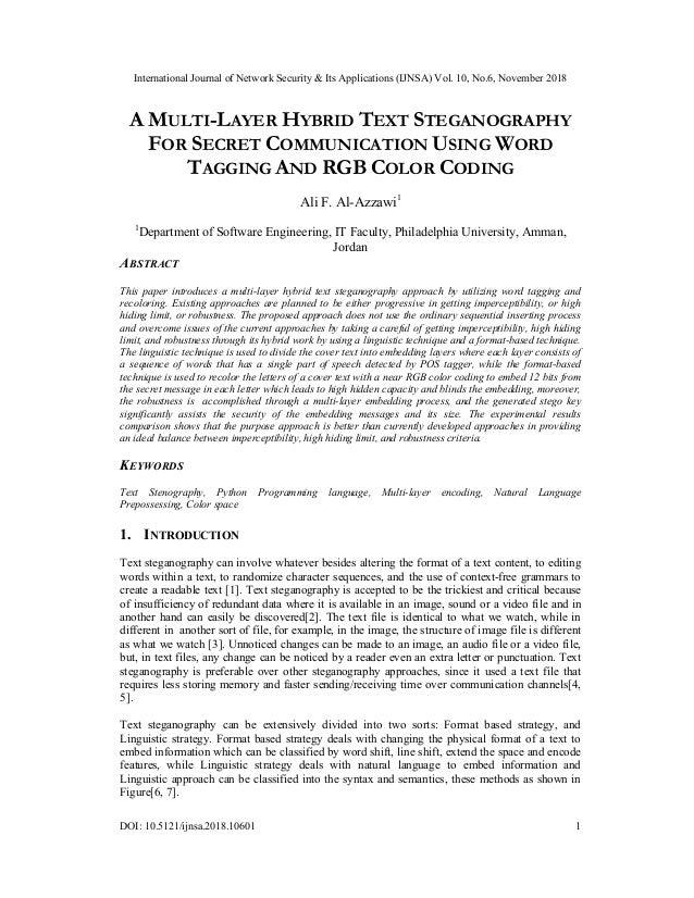 International Journal of Network Security & Its Applications (IJNSA) Vol. 10, No.6, November 2018 DOI: 10.5121/ijnsa.2018....