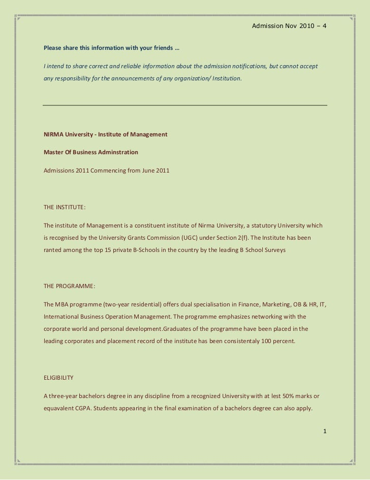 Admission Nov 2010 – 4Please share this information with your friends …I intend to share correct and reliable information ...