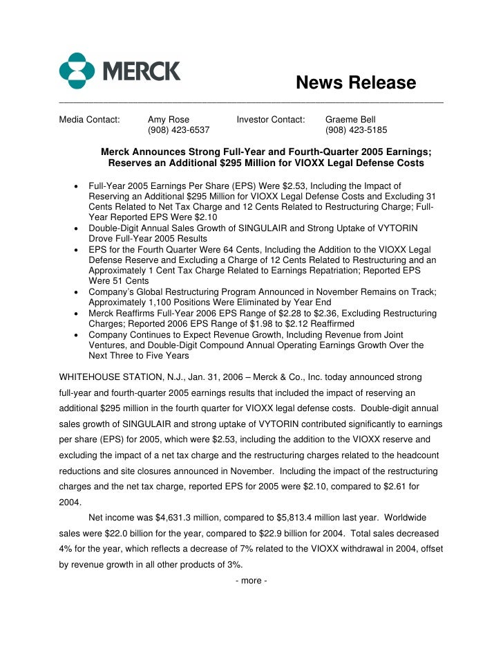 News Release ______________________________________________________________________________  Media Contact:        Amy Ros...
