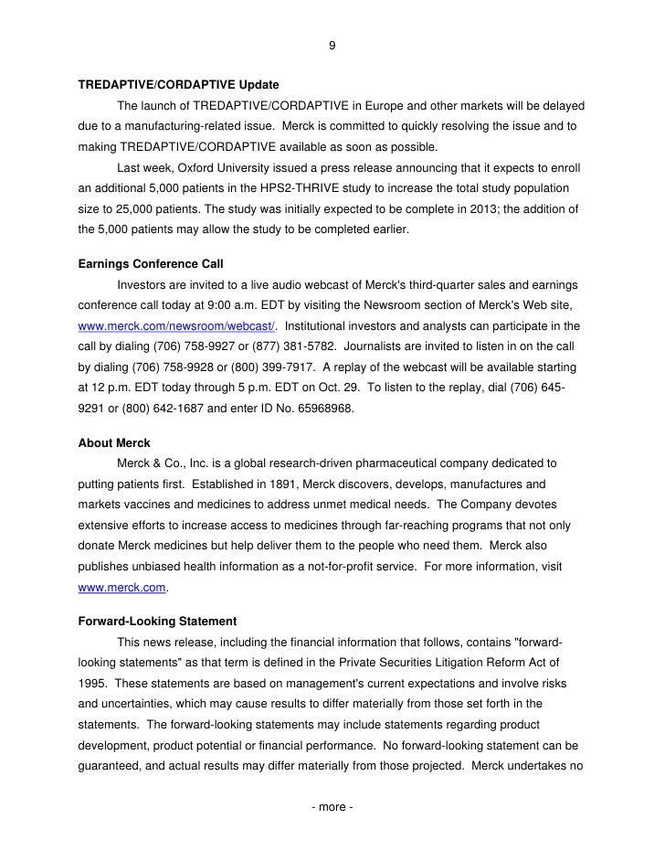 Merck Announces HPS2-THRIVE Study of TREDAPTIVE™ (Extended ...
