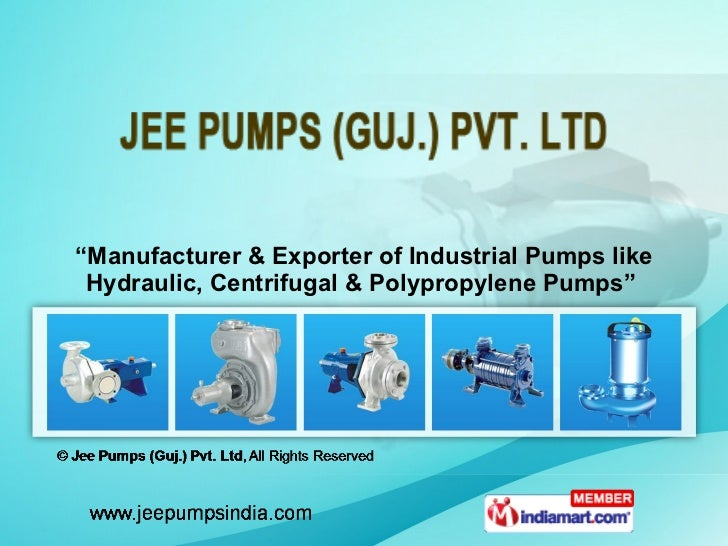 """"""" Manufacturer & Exporter of Industrial Pumps like Hydraulic, Centrifugal & Polypropylene Pumps"""""""