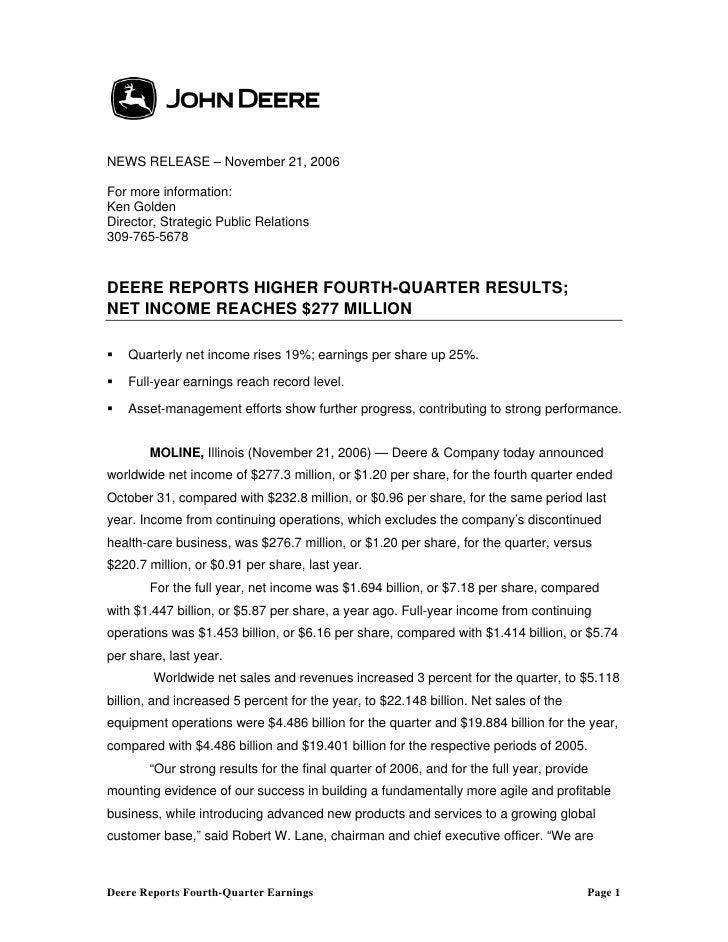 NEWS RELEASE – November 21, 2006  For more information: Ken Golden Director, Strategic Public Relations 309-765-5678   DEE...
