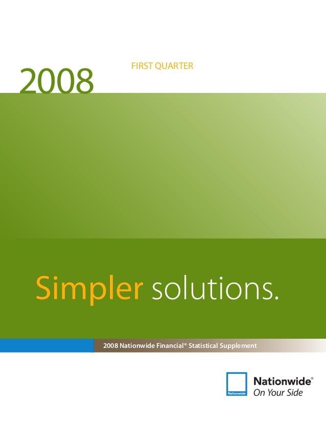2008 Nationwide Financial® Statistical Supplement FIRST QUARTER