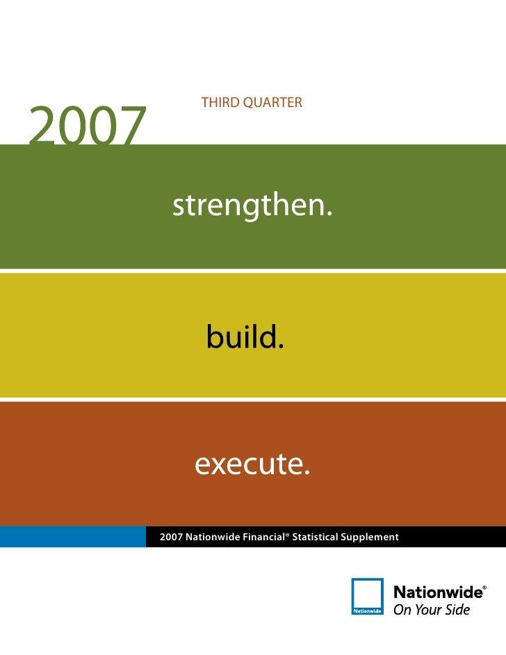 THIRD QUARTER     2007 Nationwide Financial® Statistical Supplement