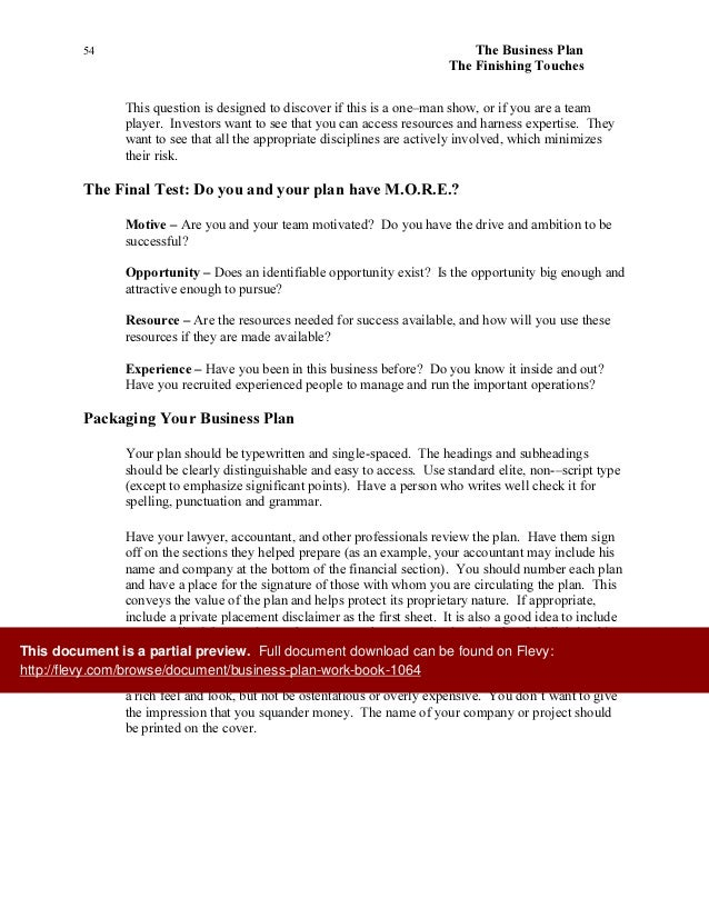 Business Plan Project Workbook