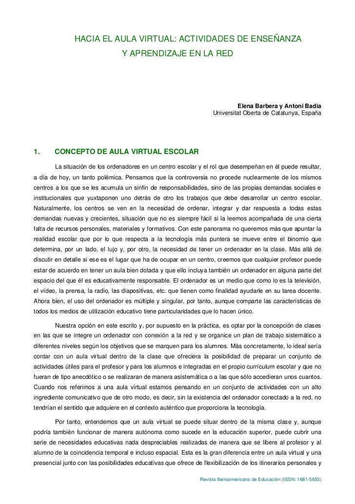 HACIA EL AULA VIRTUAL: ACTIVIDADES DE ENSEÑANZA                                 Y APRENDIZAJE EN LA RED                   ...