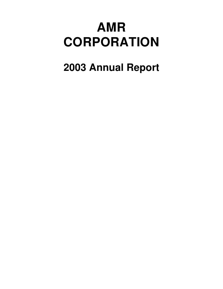 AMR Annual Report 2003