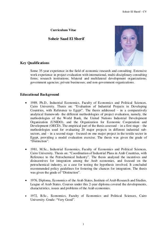 soheir el sherif cv 1 curriculum vitae soheir saad el sherif key qualifications some 35