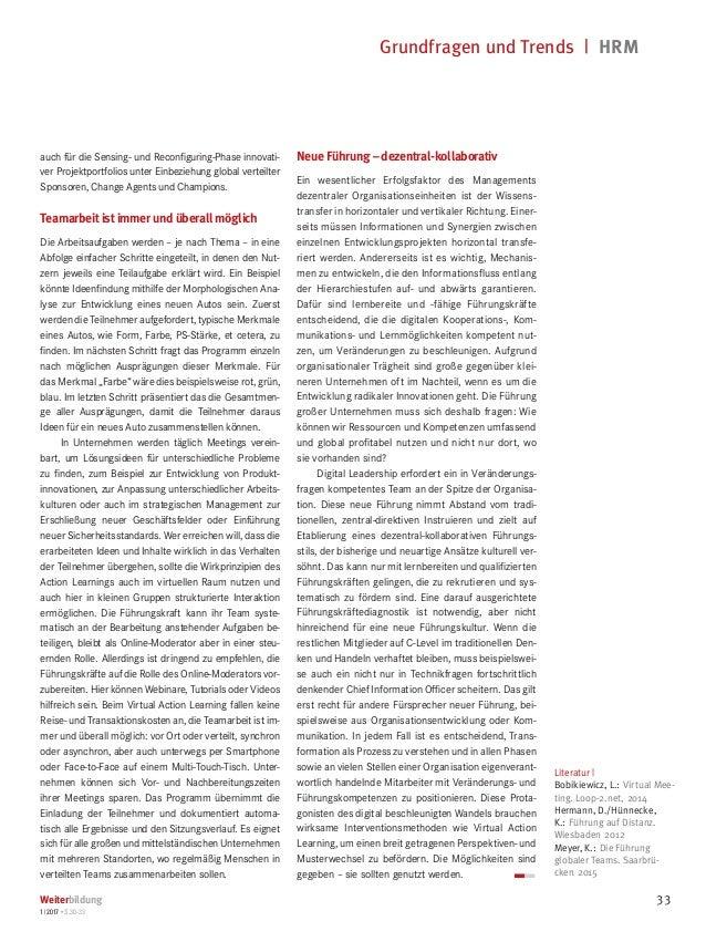 Grundfragen und Trends   HRM Weiterbildung 1 2017 • S.30-33 33 Literatur   Bobikiewicz, L.:Virtual Mee- ting. Loop-2.net...