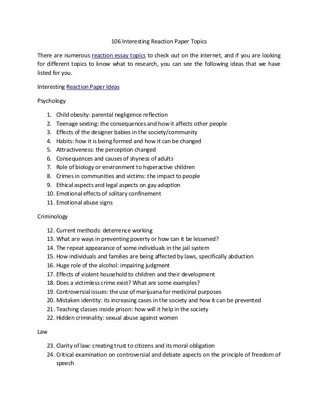 English Essay Topics For Students  Interesting Reaction Paper Topics There Are Numerous Reaction Essay  Topics To Check Out On The  How To Write A Thesis For A Persuasive Essay also Business Essays Samples  Interesting Reaction Paper Topics For An Awesome Paper English Reflective Essay Example
