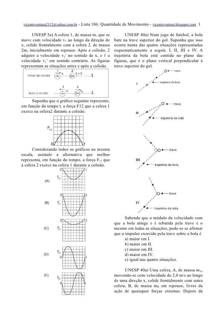 vicenteventura2112@yahoo.com.br   - Lista 106: Quantidade de Movimento - vicenteventura.blogspot.com 1        UNESP 5a) A ...