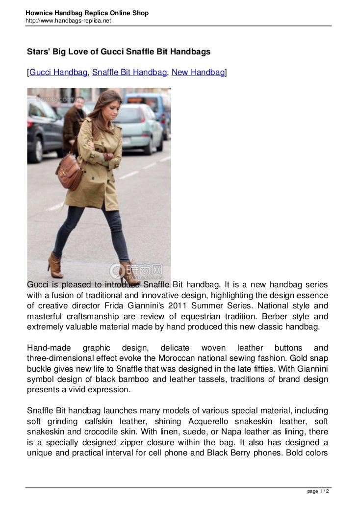 Hownice Handbag Replica Online Shophttp://www.handbags-replica.netStars Big Love of Gucci Snaffle Bit Handbags[Gucci Handb...