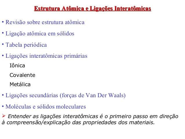 Estrutura Atômica e Ligações Interatômicas• Revisão sobre estrutura atômica• Ligação atômica em sólidos• Tabela periódica•...
