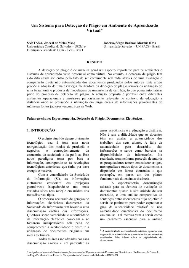 Um Sistema para Detecção de Plágio em Ambiente de Aprendizado                              Virtual*SANTANA, Joseval de Mel...