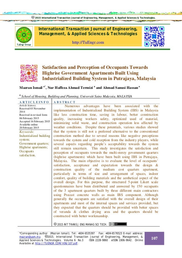 International Transaction Journal of Engineering, Management, & Applied Sciences & Technologies http://TuEngr.com Satisfac...