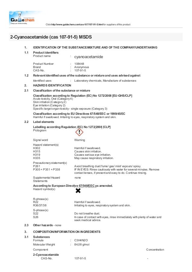 Click http://www.guidechem.com/cas-107/107-91-5.html for suppliers of this product2-Cyanoacetamide (cas 107-91-5) MSDS    ...