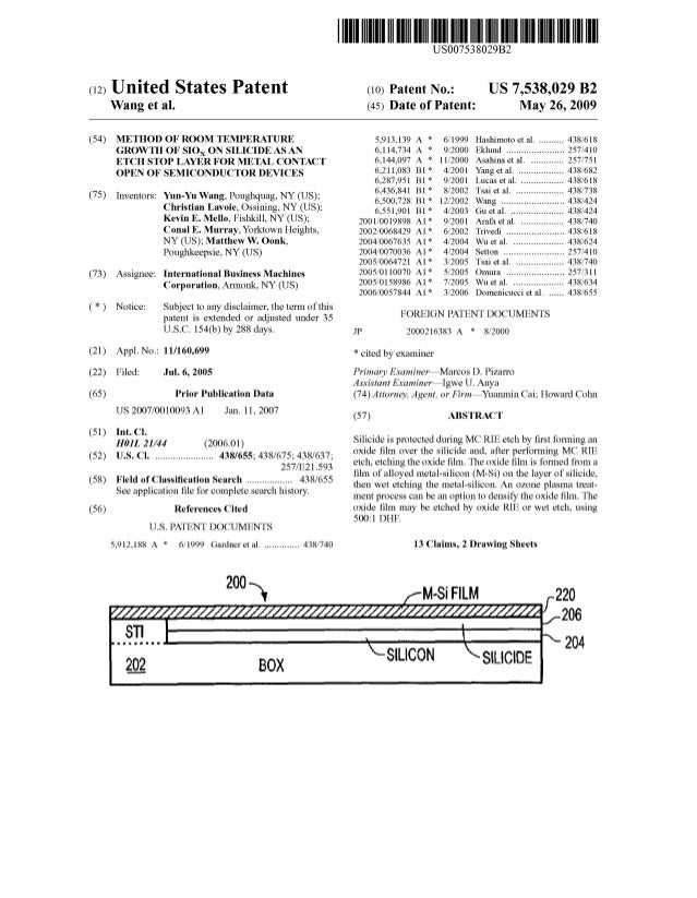 c12) United States Patent Wang et al. (54) METHOD OF ROOM TEMPERATURE GROWTH OF SIOx ON SILICIDE AS AN ETCH STOP LAYER FOR...