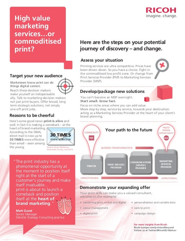 High value marketing services…or commoditised print?  Here are the steps on your potential journey of discovery – and chan...