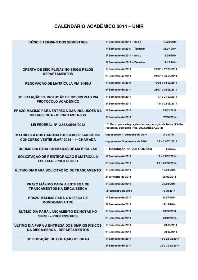 CALENDÁRIO ACADÊMICO 2014 – UNIR 1º Semestre de 2014 – Início  17/03/2014  1º Semestre de 2014 – Término  31/07/2014  2º S...