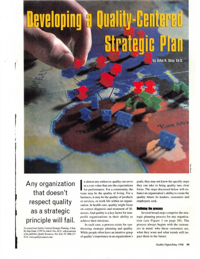 Developing a quality-Centered Strategic Plan