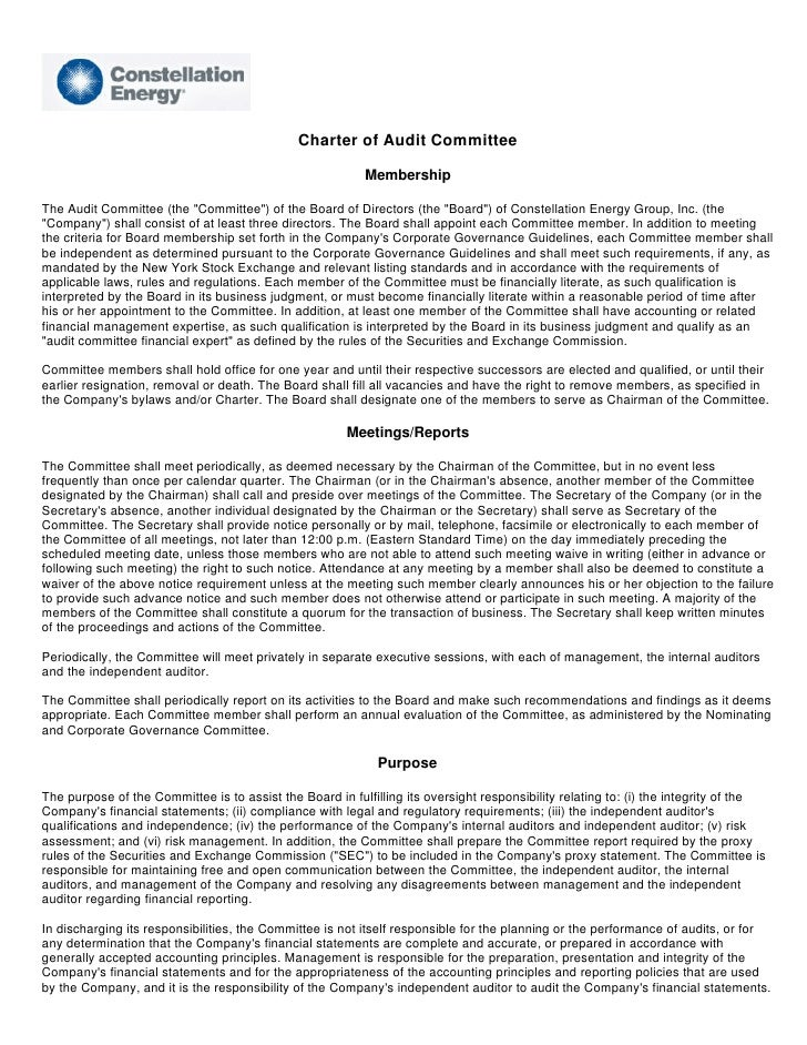 Charter of Audit Committee                                                            Membership  The Audit Committee (the...
