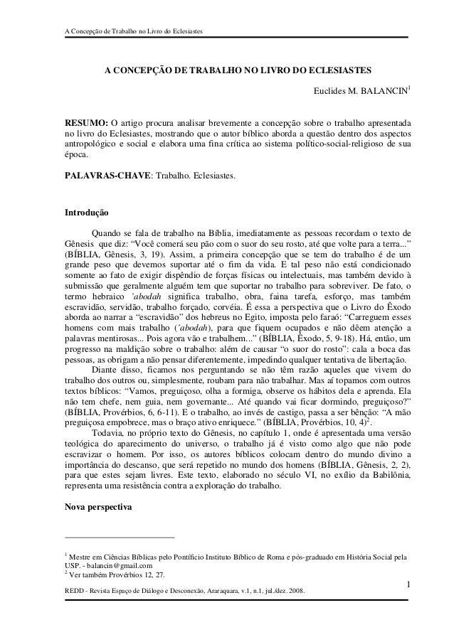 A Concepção de Trabalho no Livro do Eclesiastes             A CONCEPÇÃO DE TRABALHO NO LIVRO DO ECLESIASTES               ...