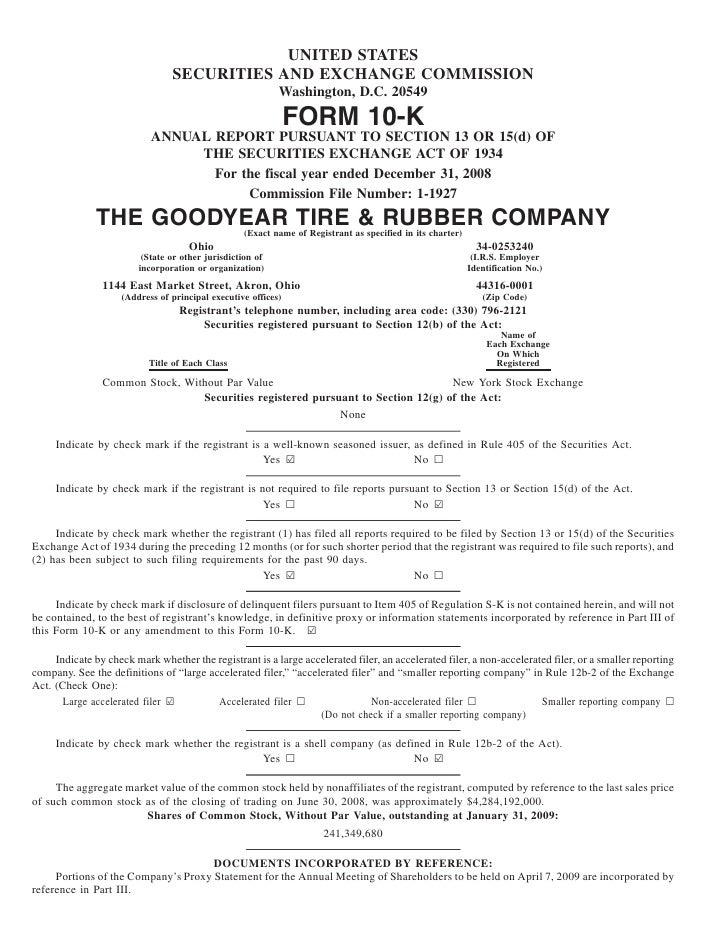 goodyear 10K Reports 2008
