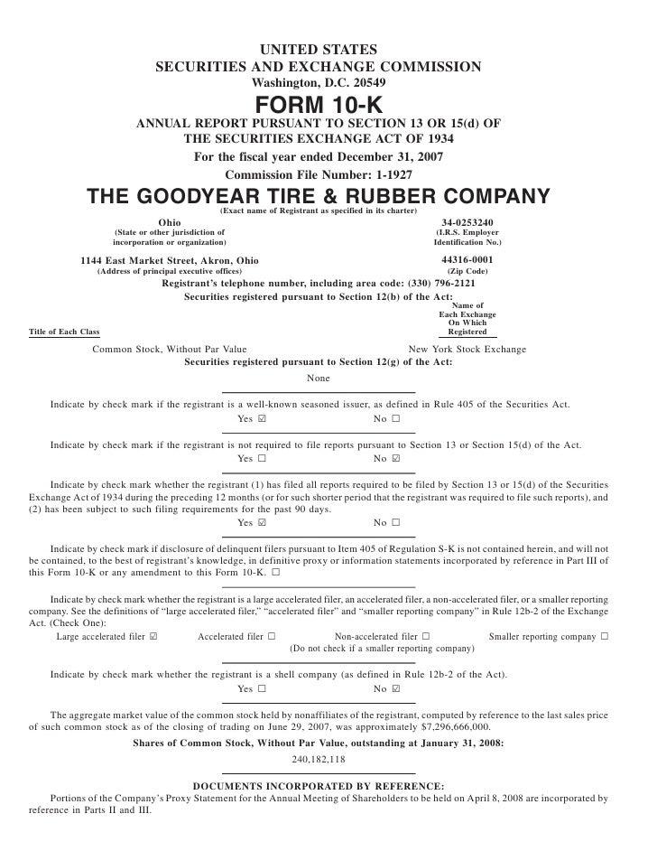 goodyear 10K Reports 2007