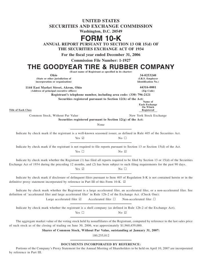 goodyear 10K Reports 2006