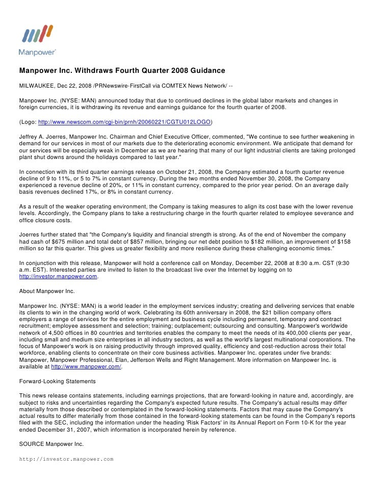 Manpower Inc. Withdraws Fourth Quarter 2008 Guidance MILWAUKEE, Dec 22, 2008 /PRNewswire-FirstCall via COMTEX News Network...