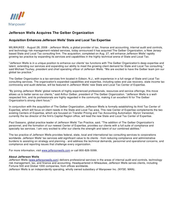 Jefferson Wells Acquires The Gelber Organization  Acquisition Enhances Jefferson Wells' State and Local Tax Expertise  MIL...