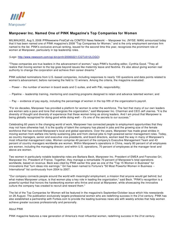 Manpower Inc. Named One of PINK Magazine's Top Companies for Women MILWAUKEE, Aug 5, 2008 /PRNewswire-FirstCall via COMTEX...
