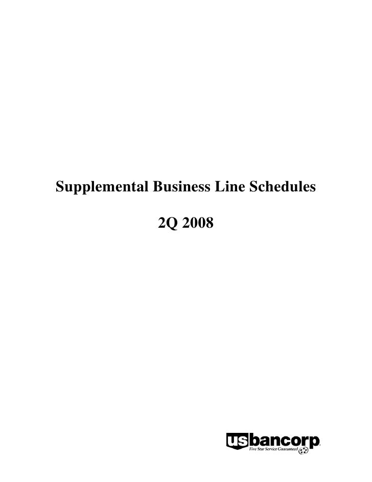 Supplemental Business Line Schedules                2Q 2008
