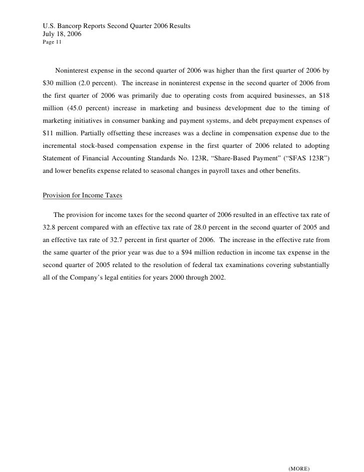 U.S. Bancorp Reports Second Quarter 2006 Results July 18, 2006 Page 11        Noninterest expense in the second quarter of...