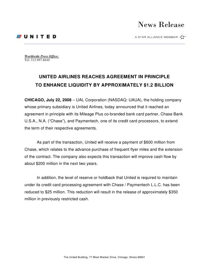 News Release   Worldwide Press Office: Tel: 312.997.8640             UNITED AIRLINES REACHES AGREEMENT IN PRINCIPLE       ...