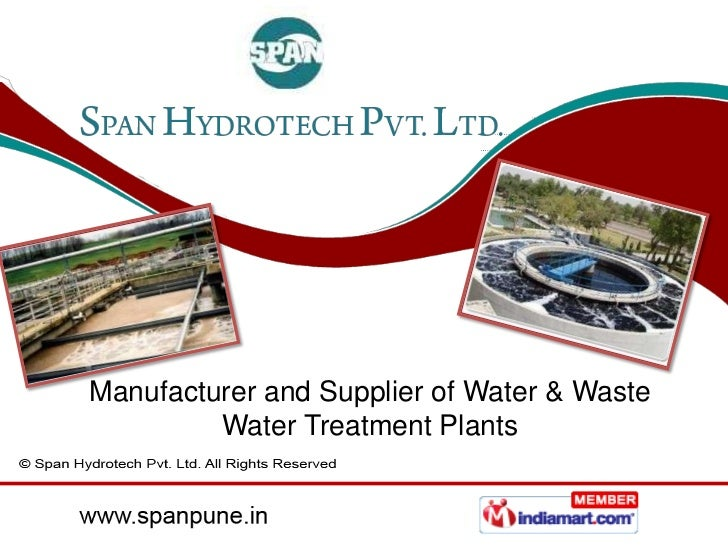 Manufacturer and Supplier of Water & Waste         Water Treatment Plants