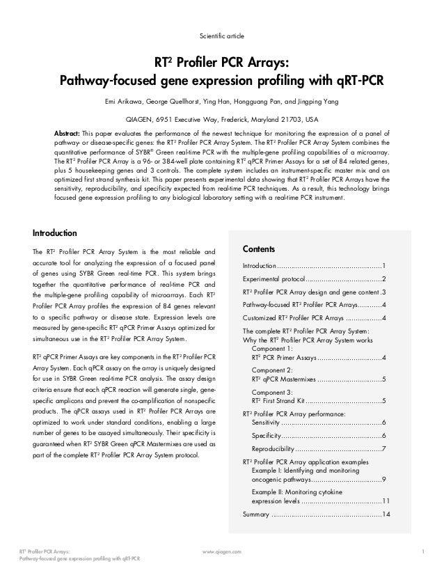 Scientific article  RT2 Profiler PCR Arrays: Pathway-focused gene expression profiling with qRT-PCR Emi Arikawa, George Qu...