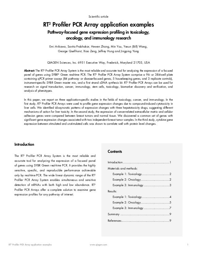 Scientific article  RT2 Profiler PCR Array application examples Pathway-focused gene expression profiling in toxicology, o...