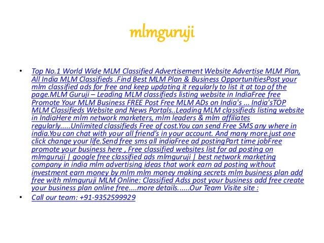 mlmguruji • Top No.1 World Wide MLM Classified Advertisement Website Advertise MLM Plan, All India MLM Classifieds .Find B...