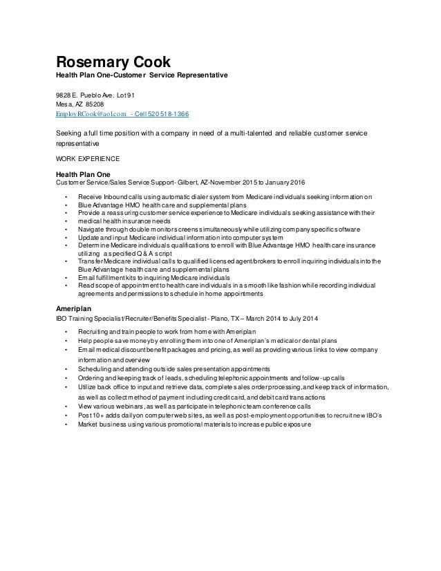 rosemary cook customer service resume final