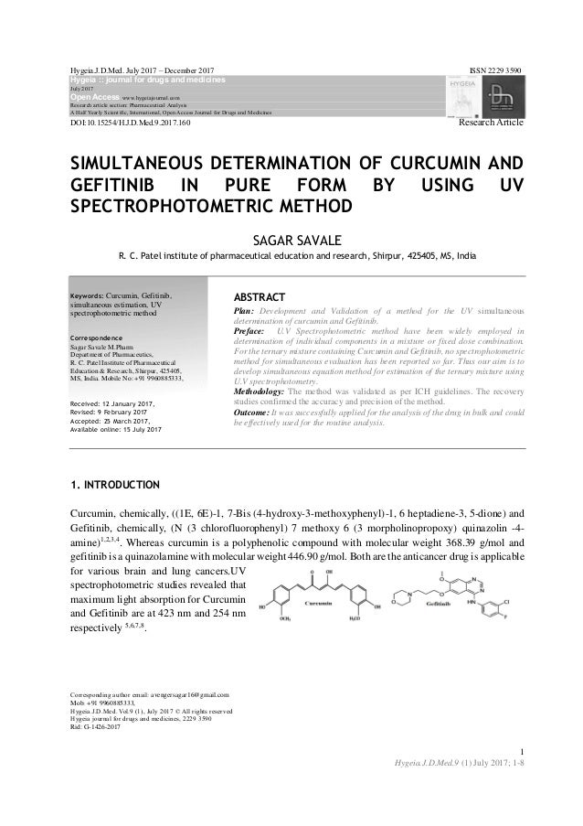 Simultaneous Determination of Curcumin and Gefitinib in Pure Form by …