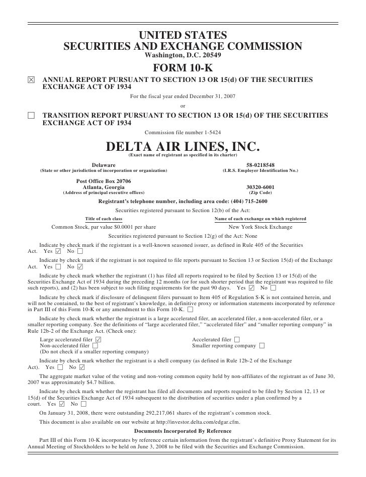 delta air line 2007 10-K