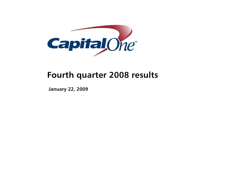 Fourth quarter 2008 results January 22, 2009